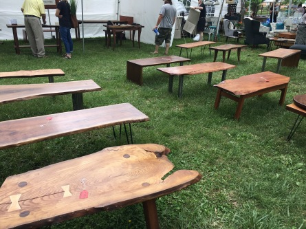 Hand made tables and benches.